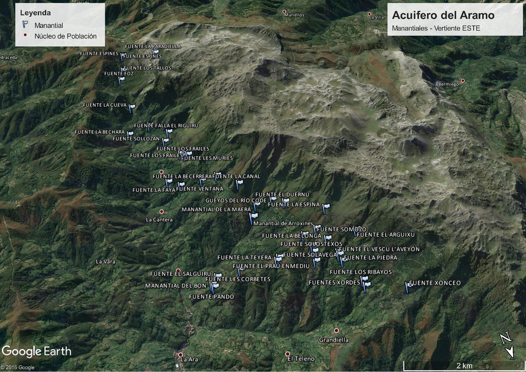 Manantiales de la vertiente oriental del acuifero de la Sierra del Aramo